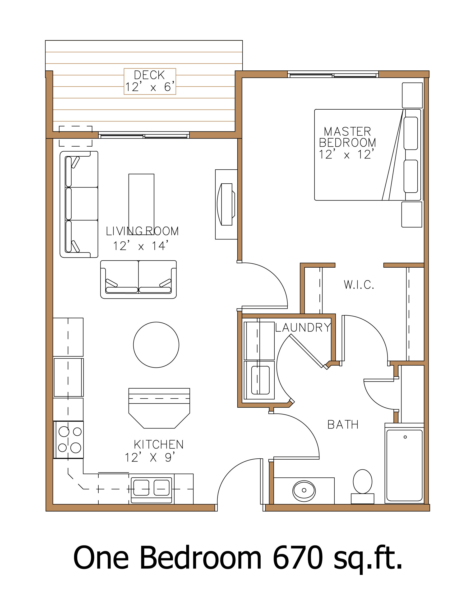 1 Bedroom / 1 Bathroom End Units. Click For Zoomed In Floor Plan