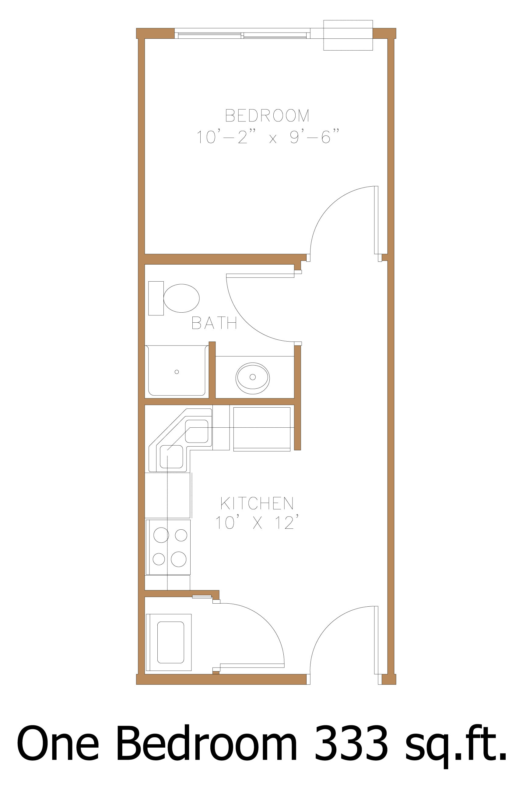 Harford One Bedroom Apartment. Click For Zoomed In Floor Plan