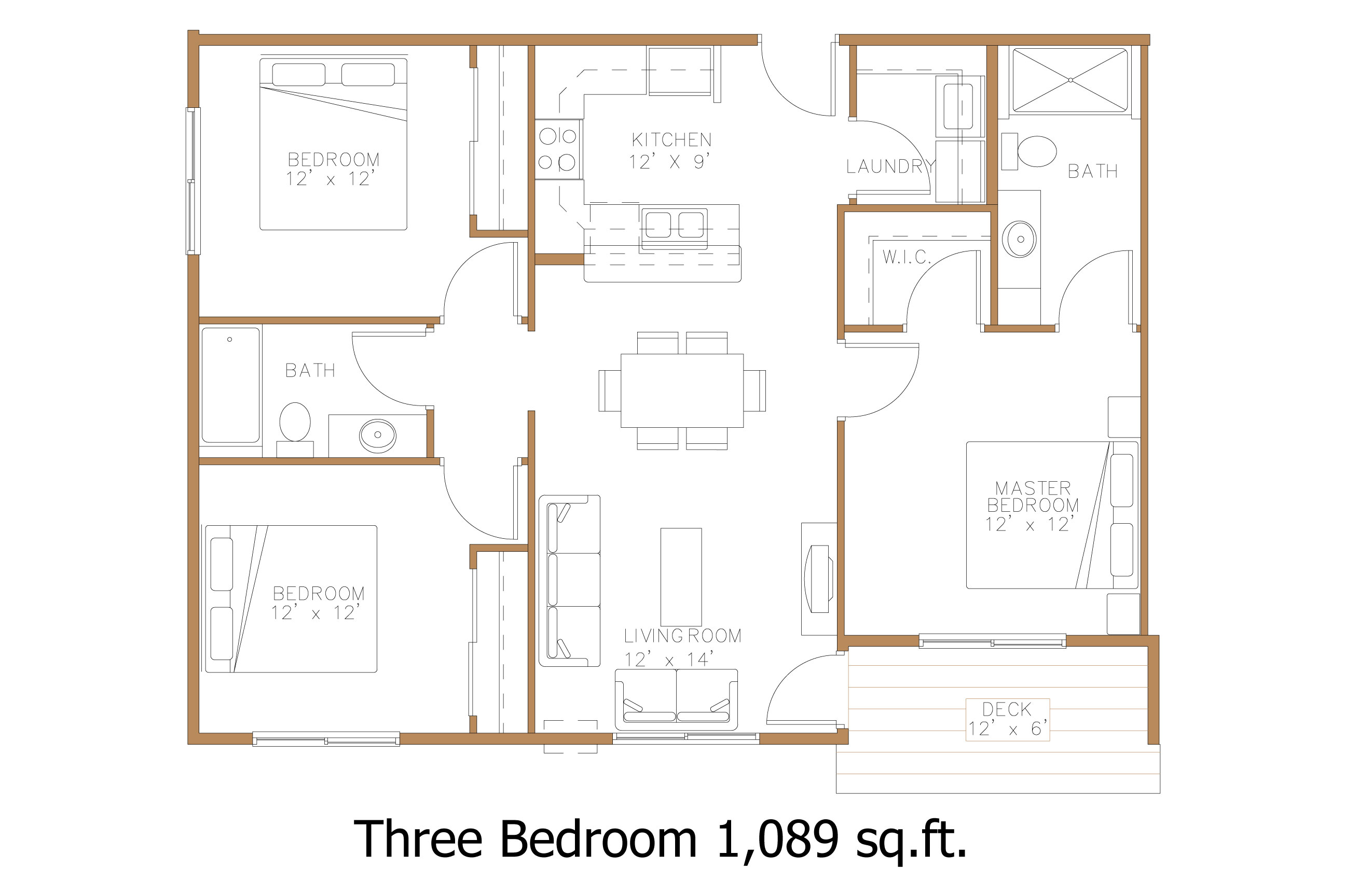 Hawley mn apartment floor plans great north properties llc - Detailed three bedroom flat ...